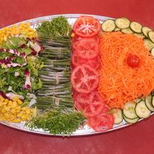 Steengrill met groentjes en sausjes